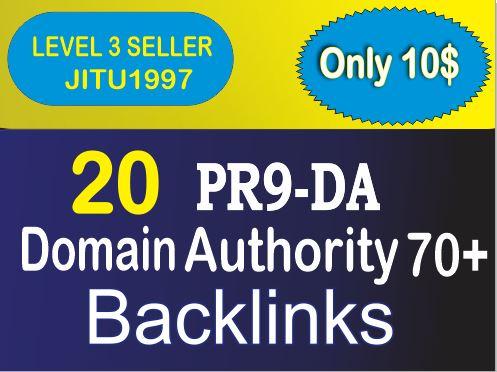 Get 20 PR9 DA Domain Authority 70+ Backlinks for Your Websites