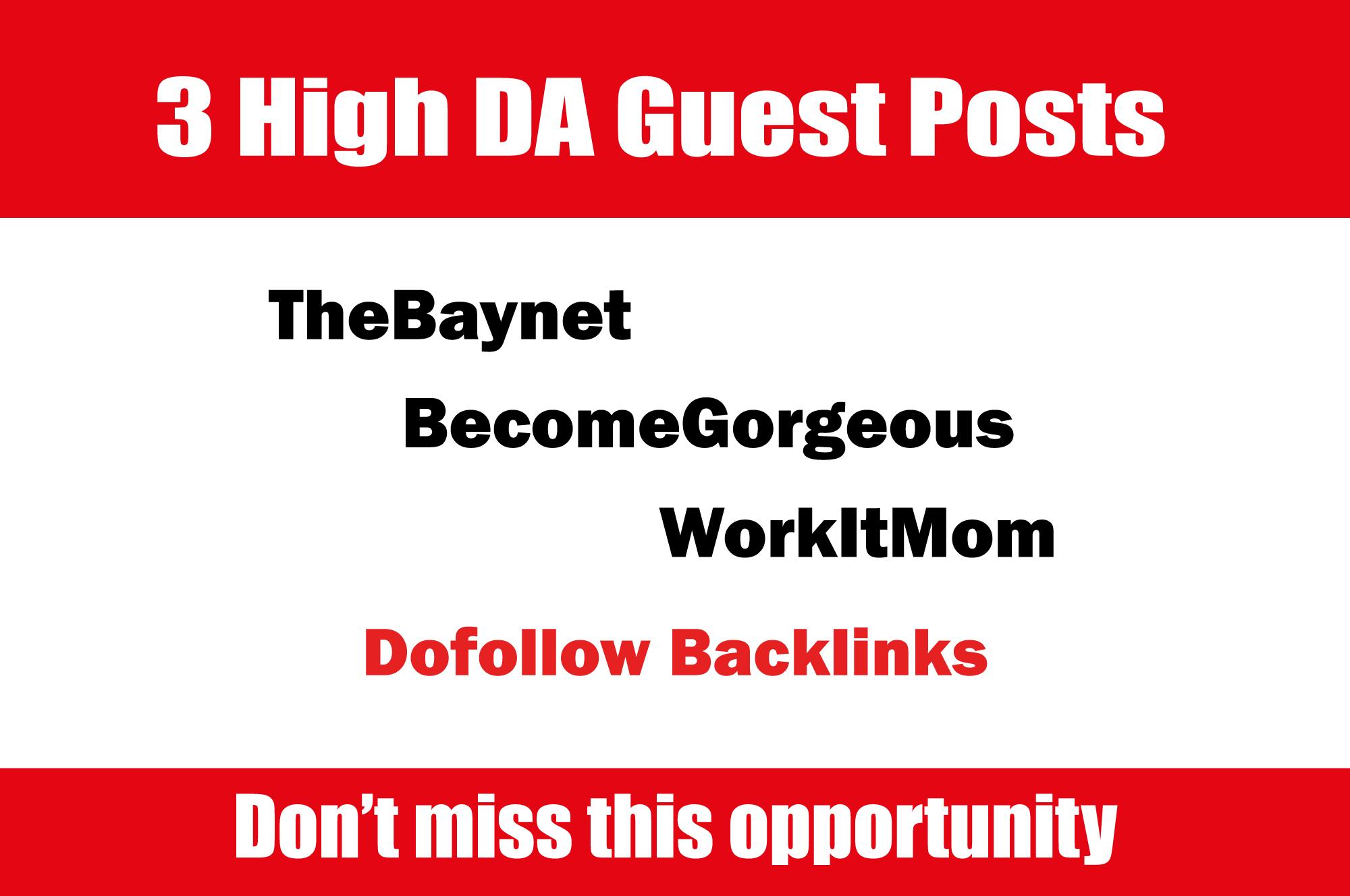 Publish Guest Post on TheBaynet. com,  BecomeGorgeous. com,  Easybranches. com