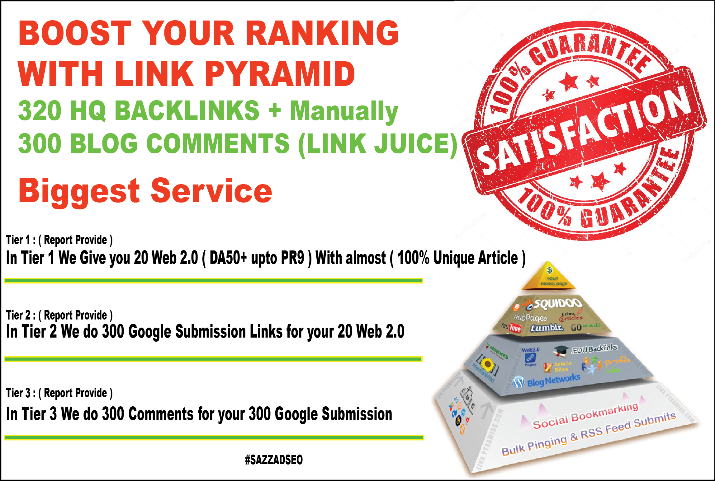 Biggest Service - Boost Your Site On Top Of Google with link pyramid