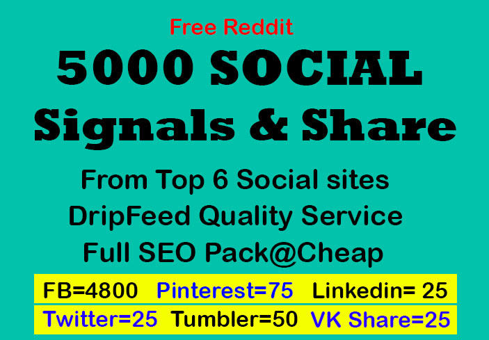 7 days drip feed service and social signals from top 6 social sites for website and youtube SEO