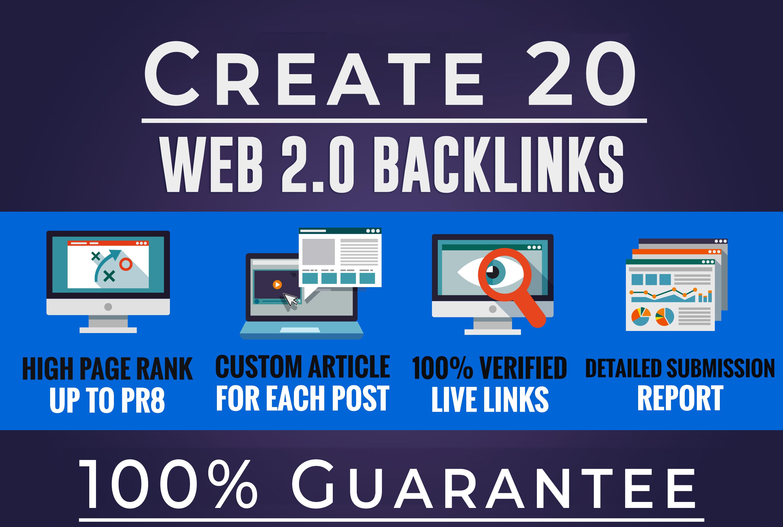 Built 20 High Quality Web 2.0 SEO Backlinks manual link building