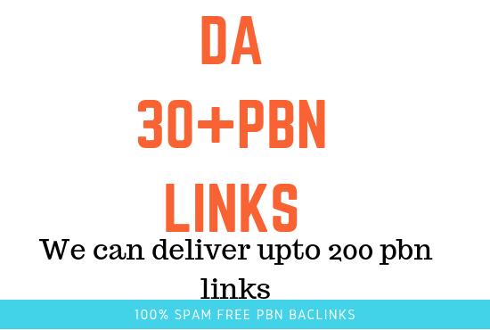 i will Provide you 5 pbn backlinks from DA30 plus Homepage PBN backlinks