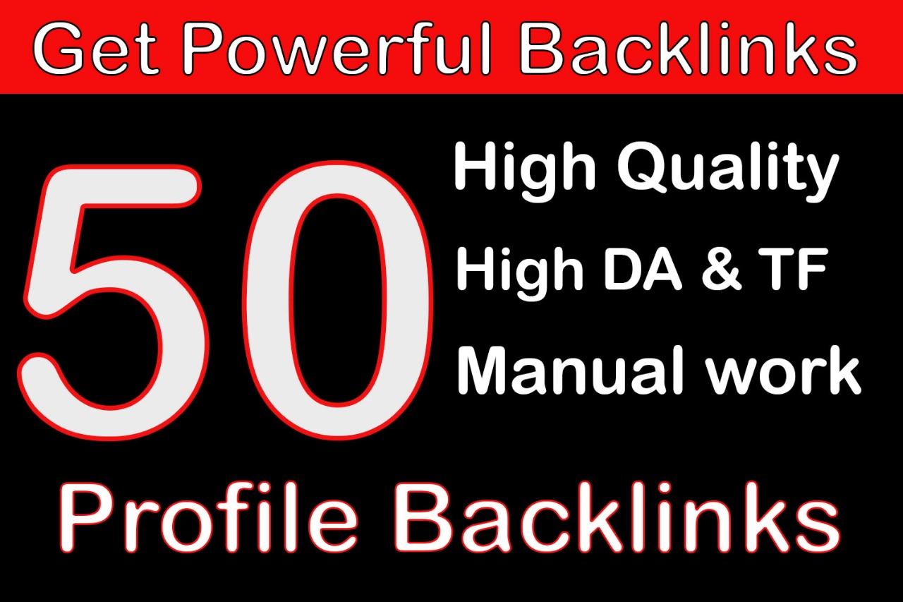 Get manually created 50 Dofollow backliks DA +80 Powerful websites
