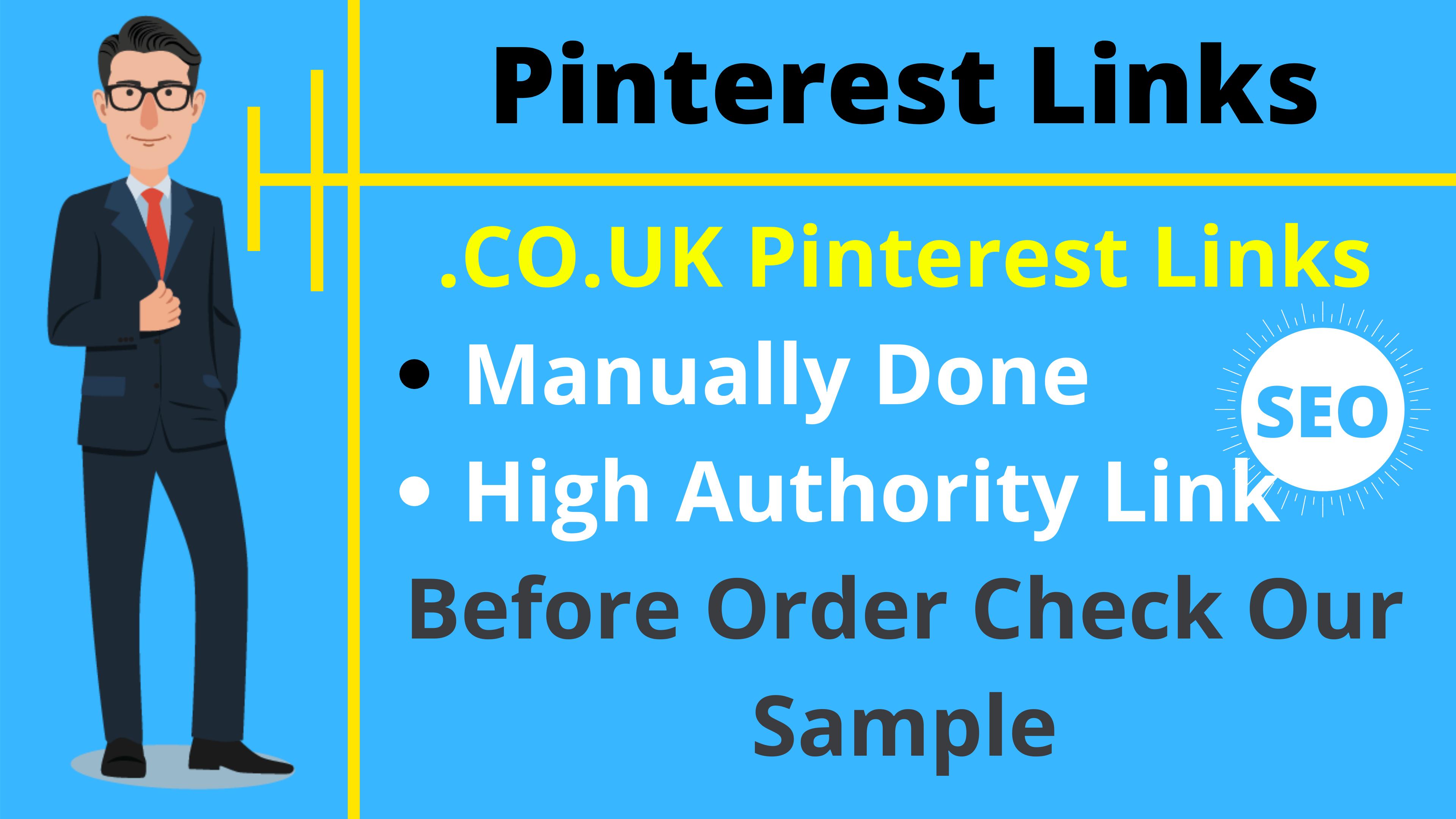 Give you 100 CO UK Site Pinterest High Quality Backlink 94 DA 95 PA