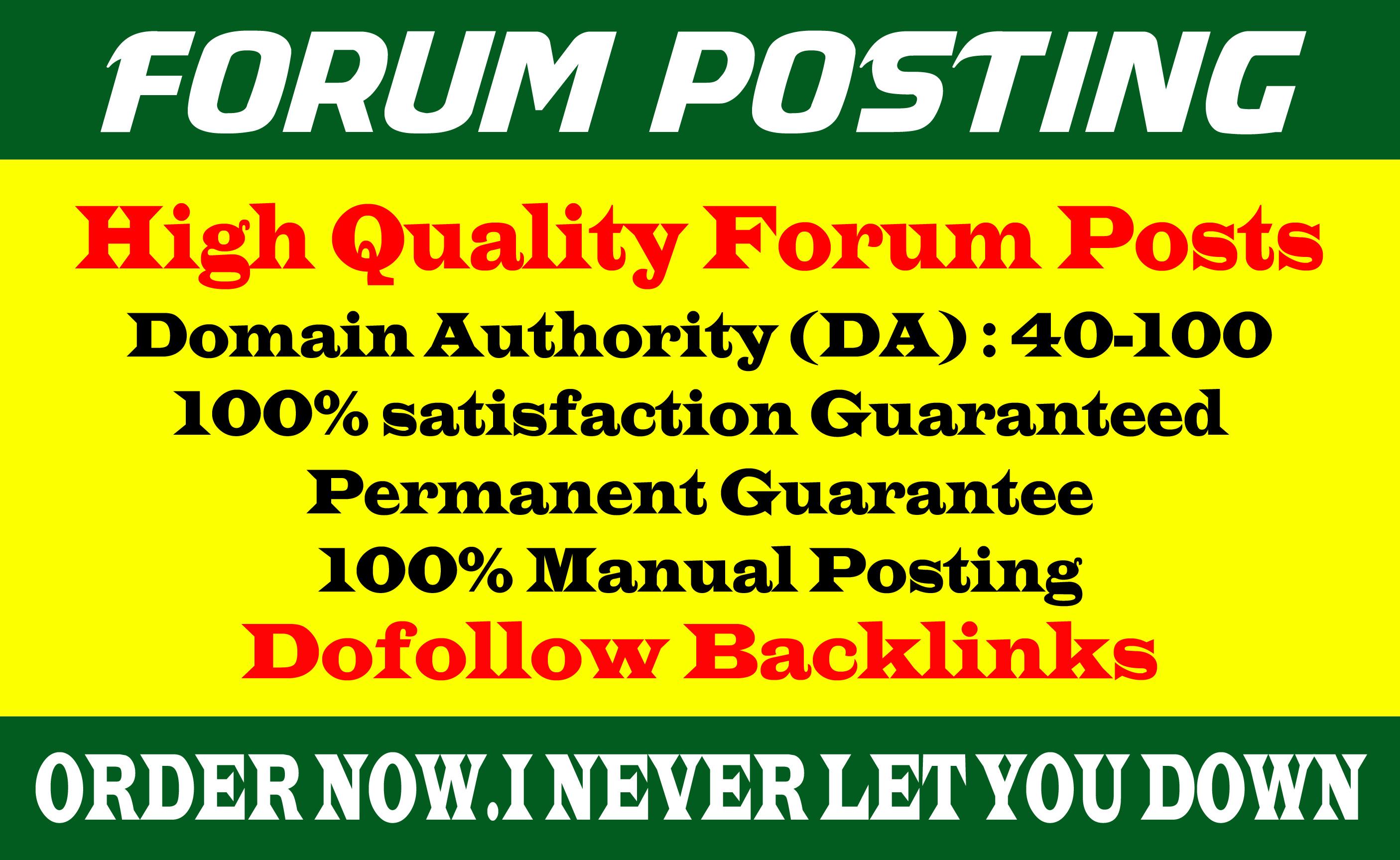 Provide 40 dof0llow forum posting backlinks on High DA Site