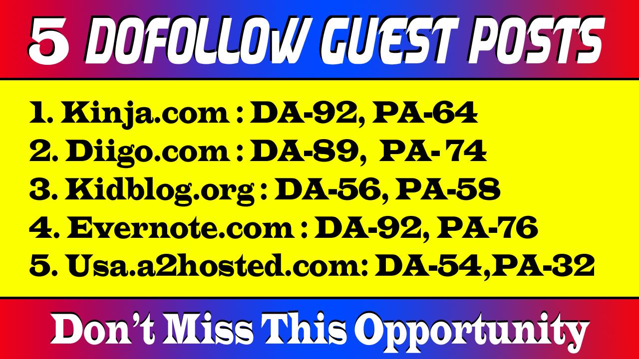 5 Dof0llow Guest Posts on High DA Sites with Unique Content