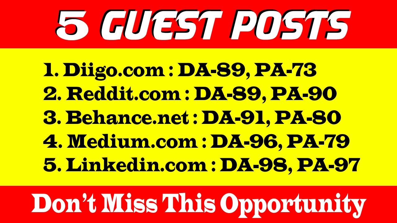 5 Guest Posts on DA 89+ to Boost your SEO Ranking