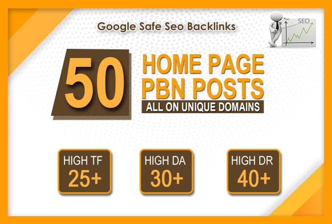 I will make 50 high da pa tf homepage pbn backlinks permanent posts