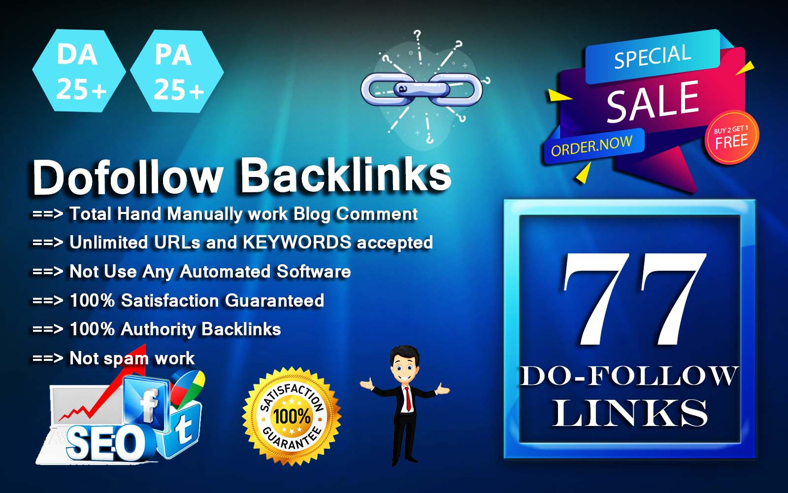 I will submit 77 exclusive high da/pa dofollow backlinks