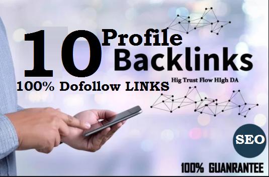 Manually Do 10 Dofollow Profile Backlinks High DA 50 plus SEO PR-10 Links