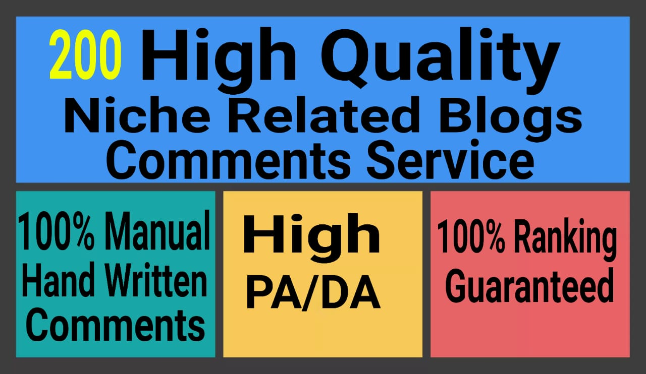 200 Niche Relevant blog Comments Manually Hand Written With low obl