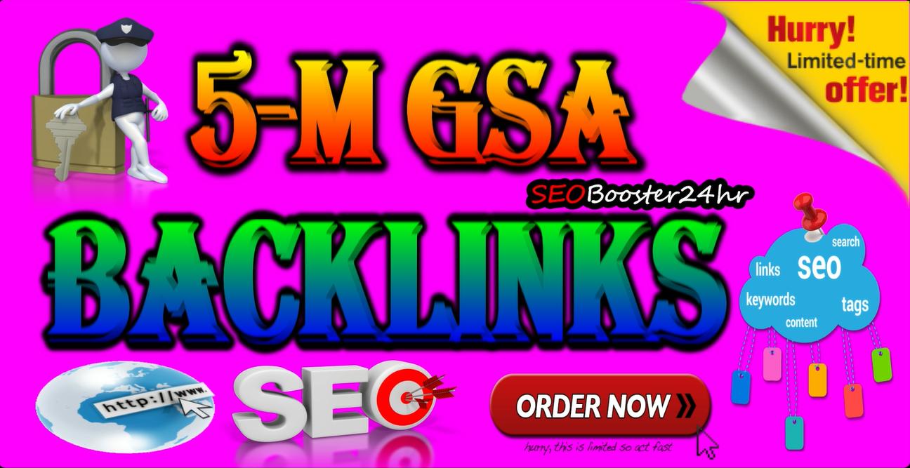5 Millions Verified GSA Backlinks For Firster Rangking on Google