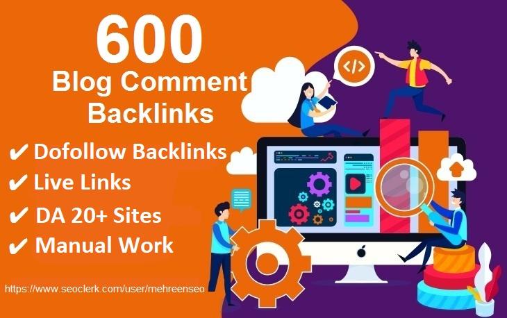 I will do 600 Blogcomment dofollow Backlinks with DA 20+