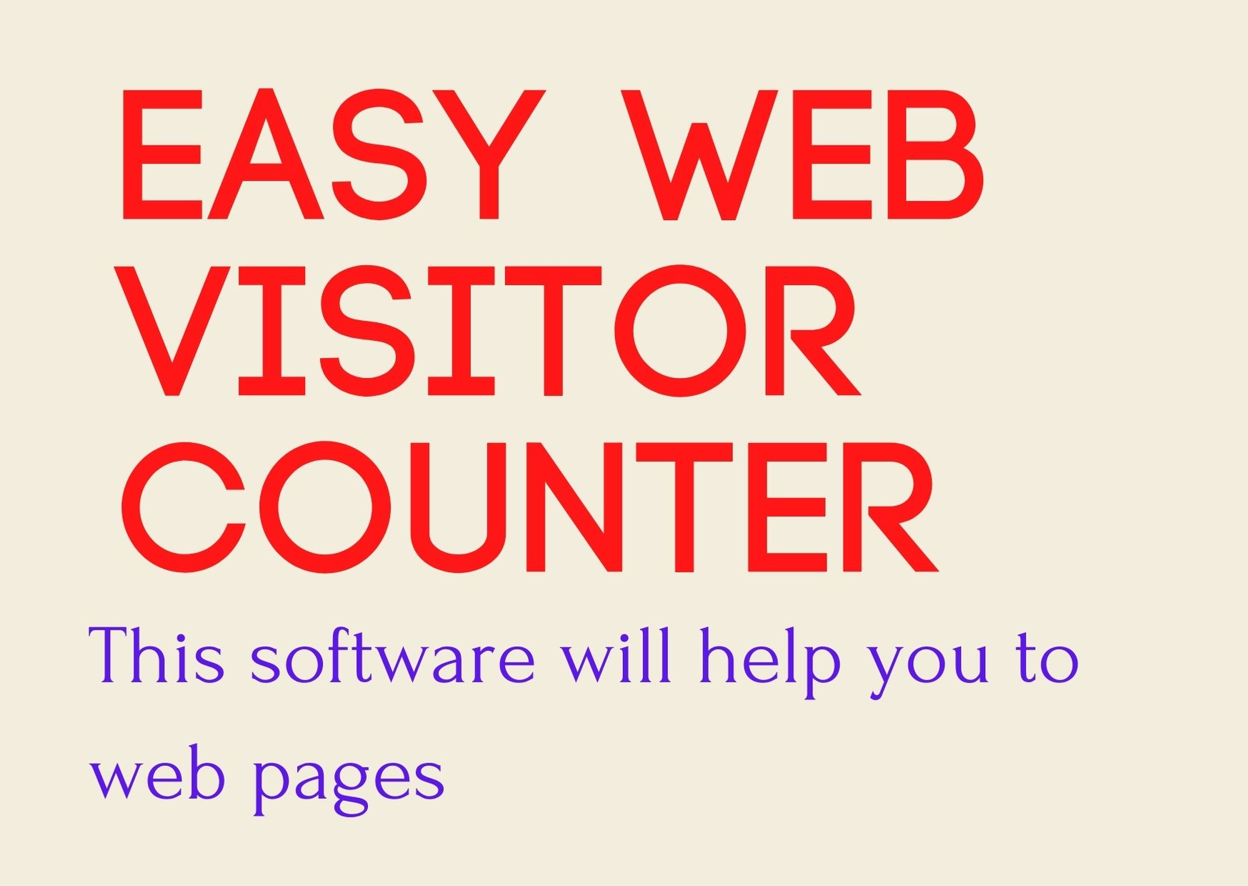 Easy Web Visitor Counter - help you to web pages