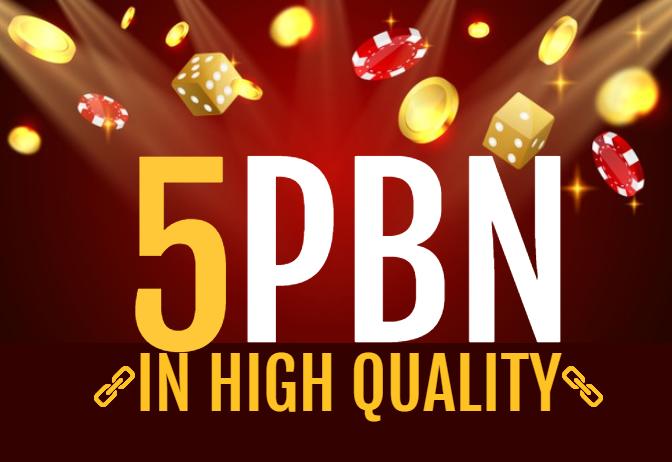 5 Niche High Quality CASINO,  POKER,  SLOTS Relvent PBN Backlinks