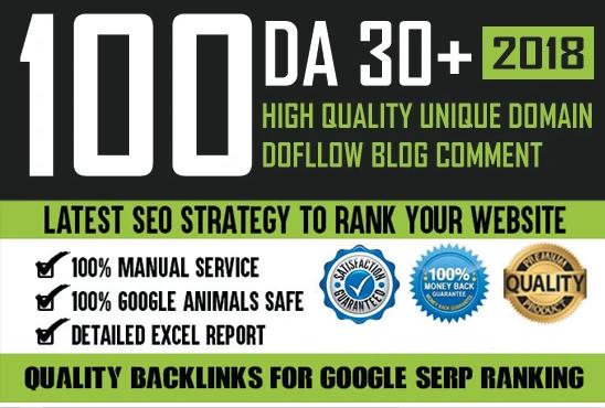 100 Unique Domain Do-Follow DA 30+ Blog Comment Backlinks