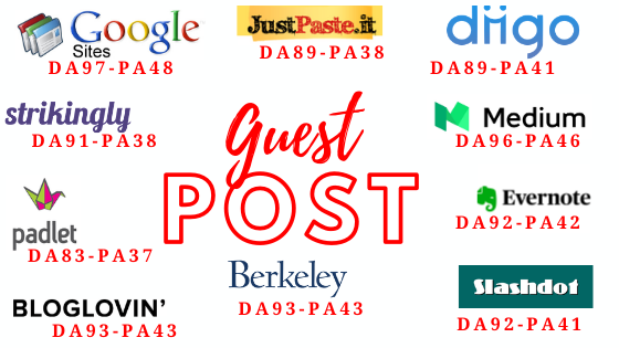 Write and Publish 10 Guest Post on DA 80+ High Authority Websites