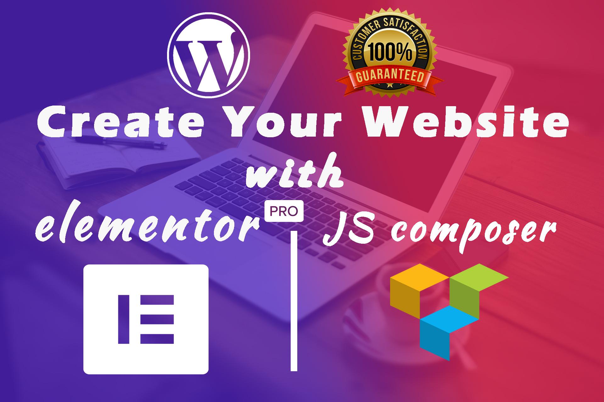 I will design or redesign wordpress website using elementor or js composer page builder