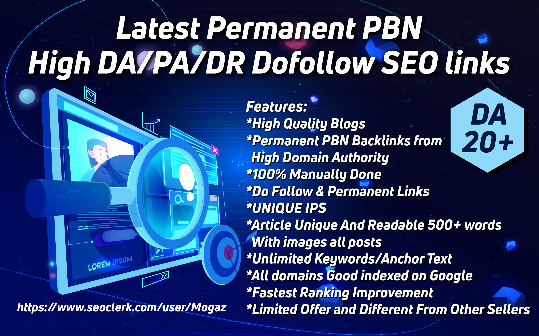 Latest Permanent 20 PBN High DA/PA/DR Dofollow SEO links