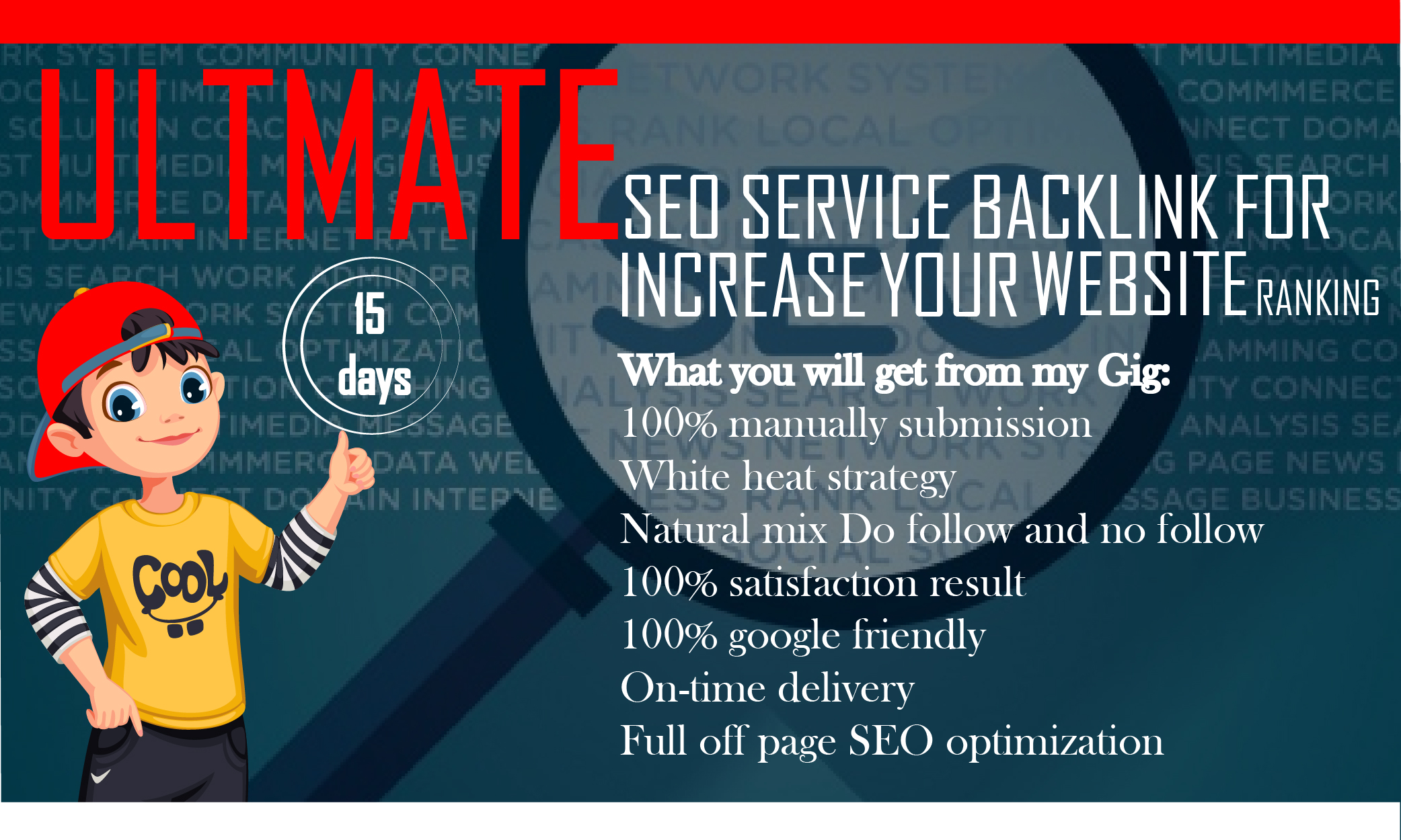 give you monthly SEO service,  on and off page optimization for google top ranking