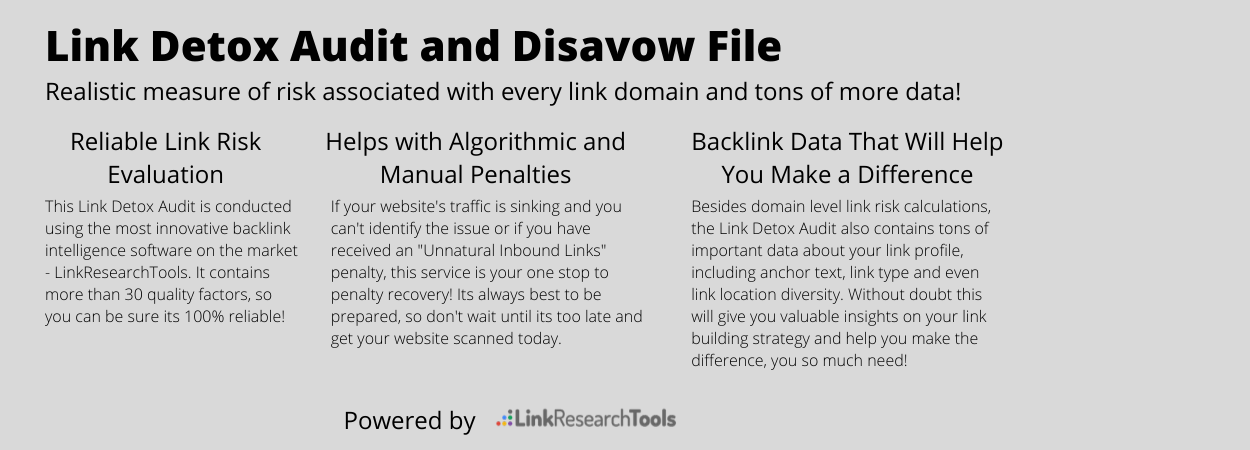 Expert Link Detox Audit and Disavow File