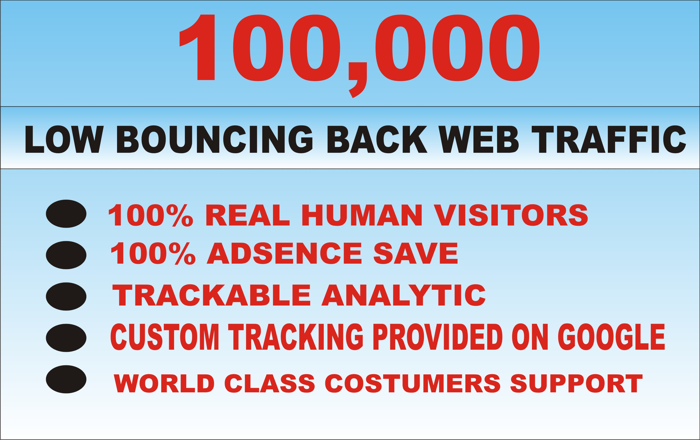DRIVE 100,000 LOW BOUNCING BACK WEB TRAFFIC TO YOUR WEBSITE