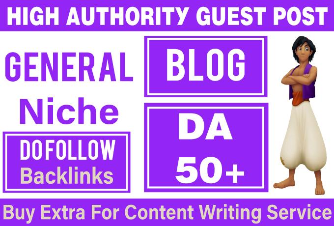 Provide Guest Post on DA 50+ General Blog
