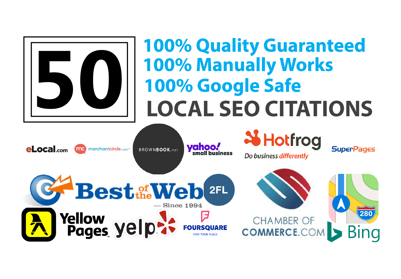 Top 50 Local SEO Citations From Brightlocal,  Yext,  Moz,  Whitespark For Google 1st Page Rankings