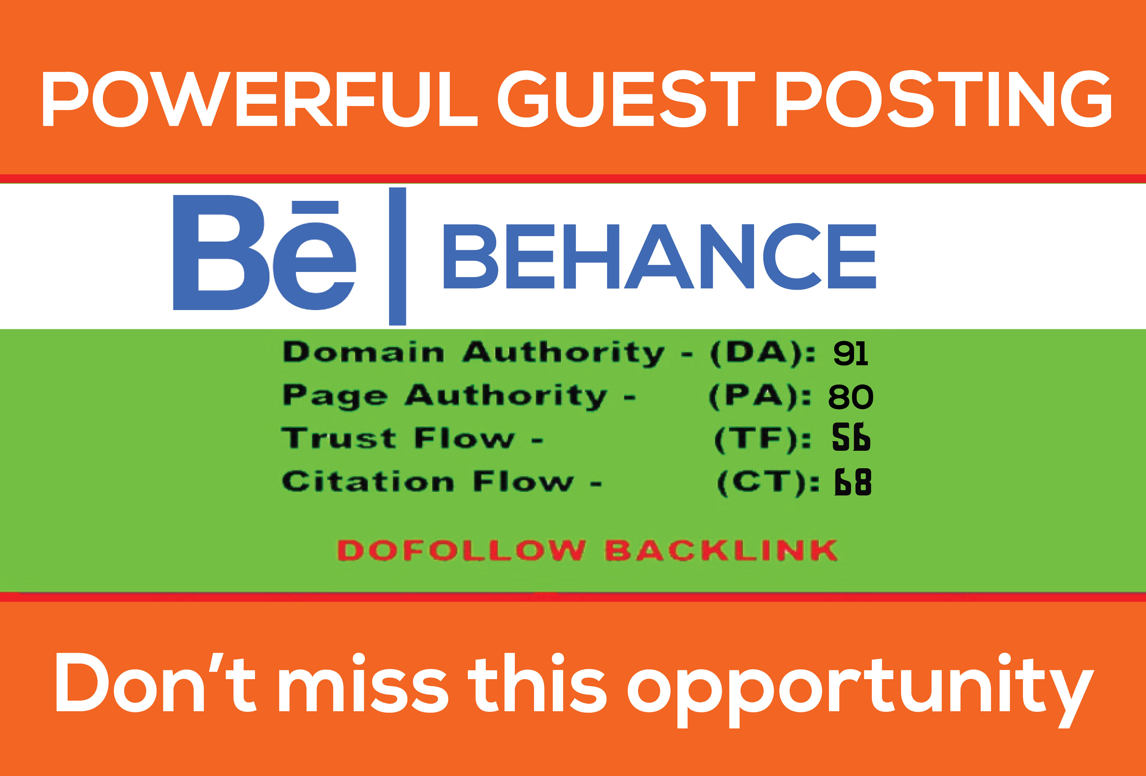Write and publish guest post on BEHANCE with permanent Dof0llow backlink DA90 PA80