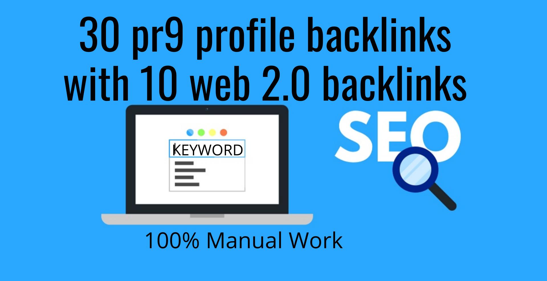 create 30 pr9 profile backlinks with 10 web 2.0 backlinks