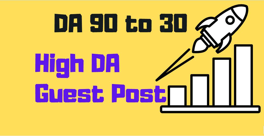 write publish 10 high DA guest post backlinks on DA 90 to 30
