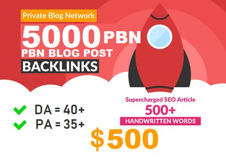 DA 40+ PA 35+ pr 5+ web 2.0 5000 PBN UNIQUE 5000 sites