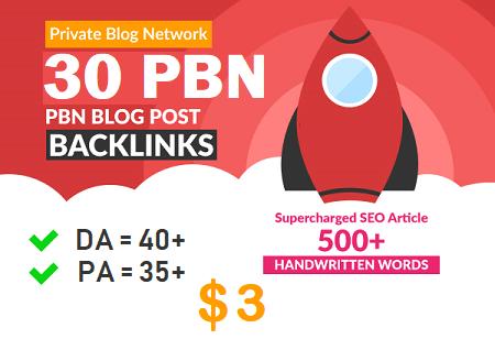 DA 40+ PA 35+ PR 5+ web2.0 30 pbn in unique 30 sites