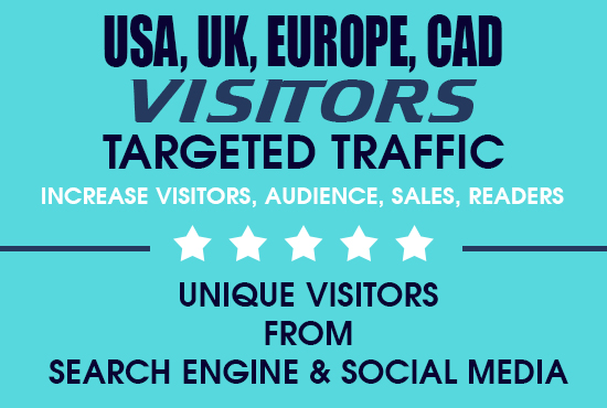 100000 Targeted traffic marketing to increase visitors,  sales,  followers on website