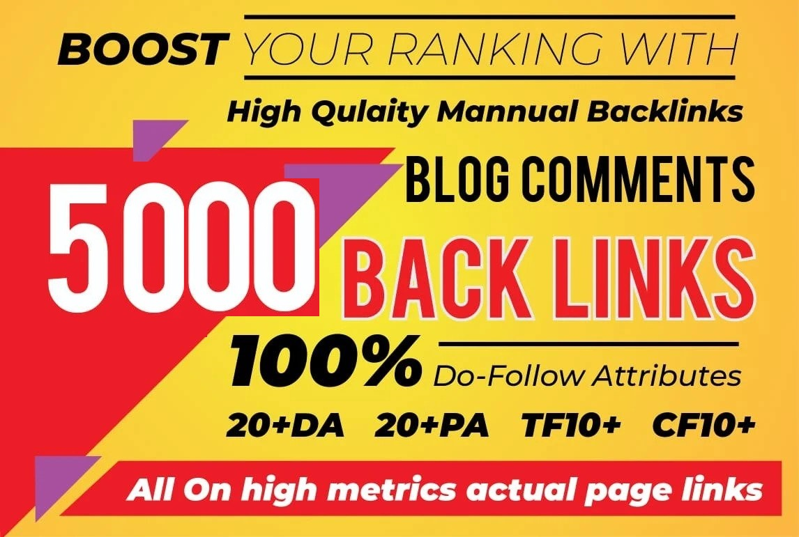 Build 1000 Dofollow Blog Comment Backlinks With High DA, PA, TF, CF