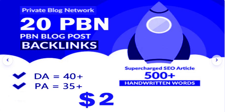 Unique 20 WEB 2.0 Sites DA 40+ PA 40+ PR 5+ Dofollow Backlinks