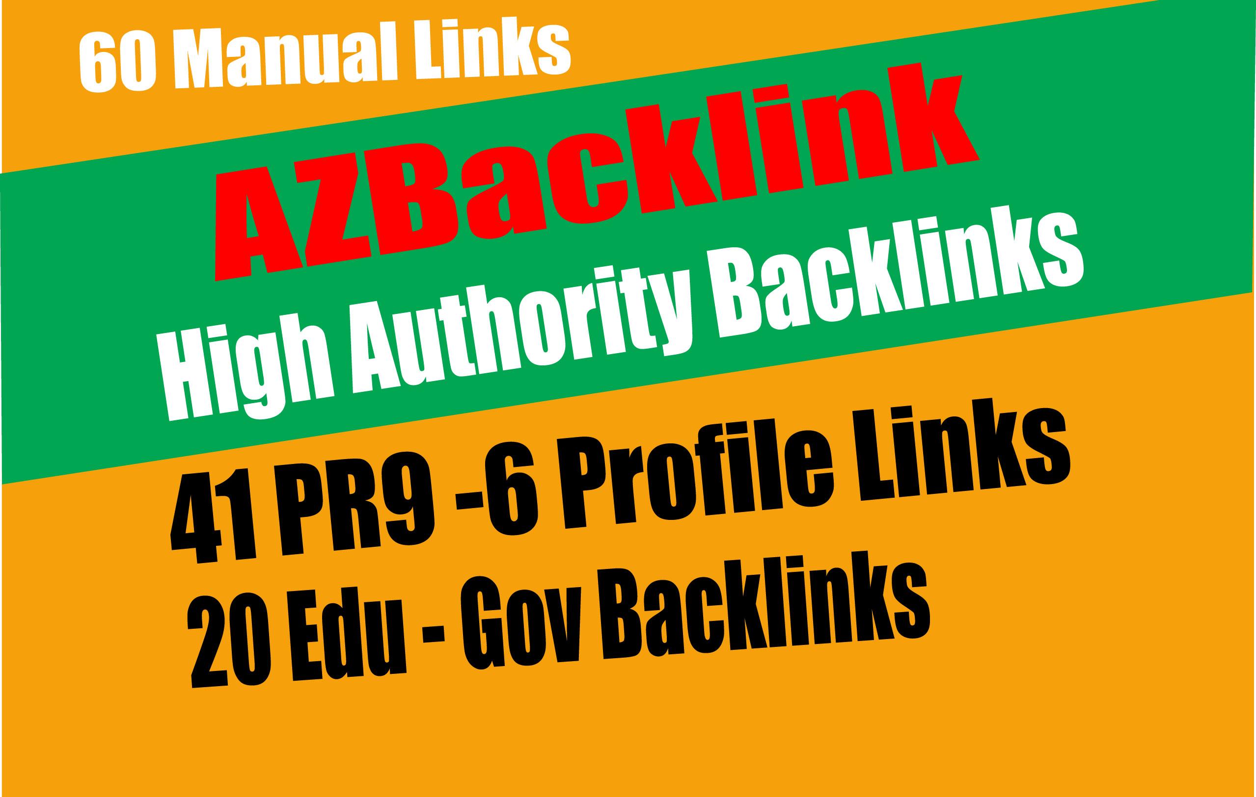 61 AZ Backlinks From 41 PR9 + 20 EDU GOV Backlinks From Authority Domain