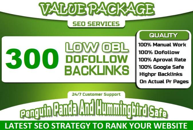 I will do 300 do-follow backlinks with low obl