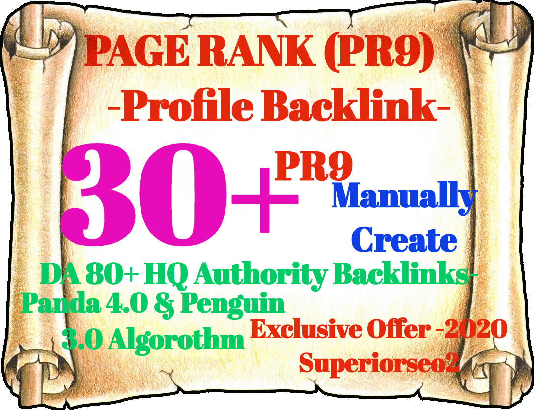 Build 30 PR9 DA 80-100 HQ Authority SEO Backlinks New Year 2020