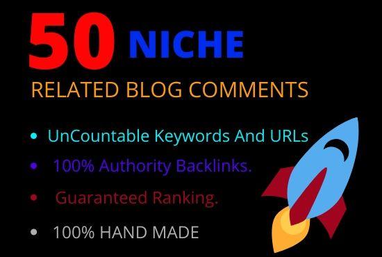 I Will Do 50 niche relevant blog comments high da pa