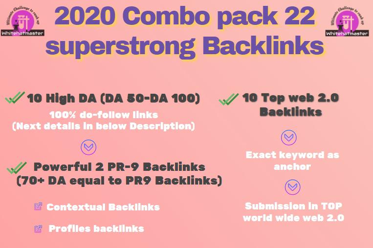 Buy 22 High DA & PR-9 equal 70+ DA & web 2.0 Backlinks