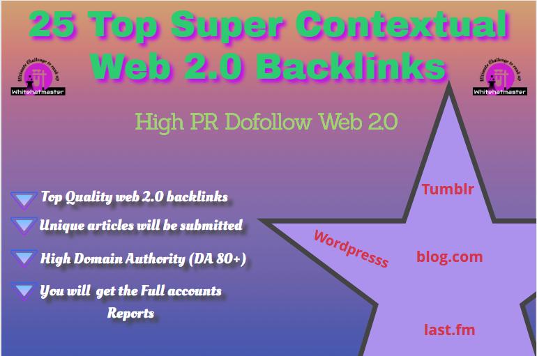 buy 25 Contextual Backlinks High PR Dofollow Web 2.0