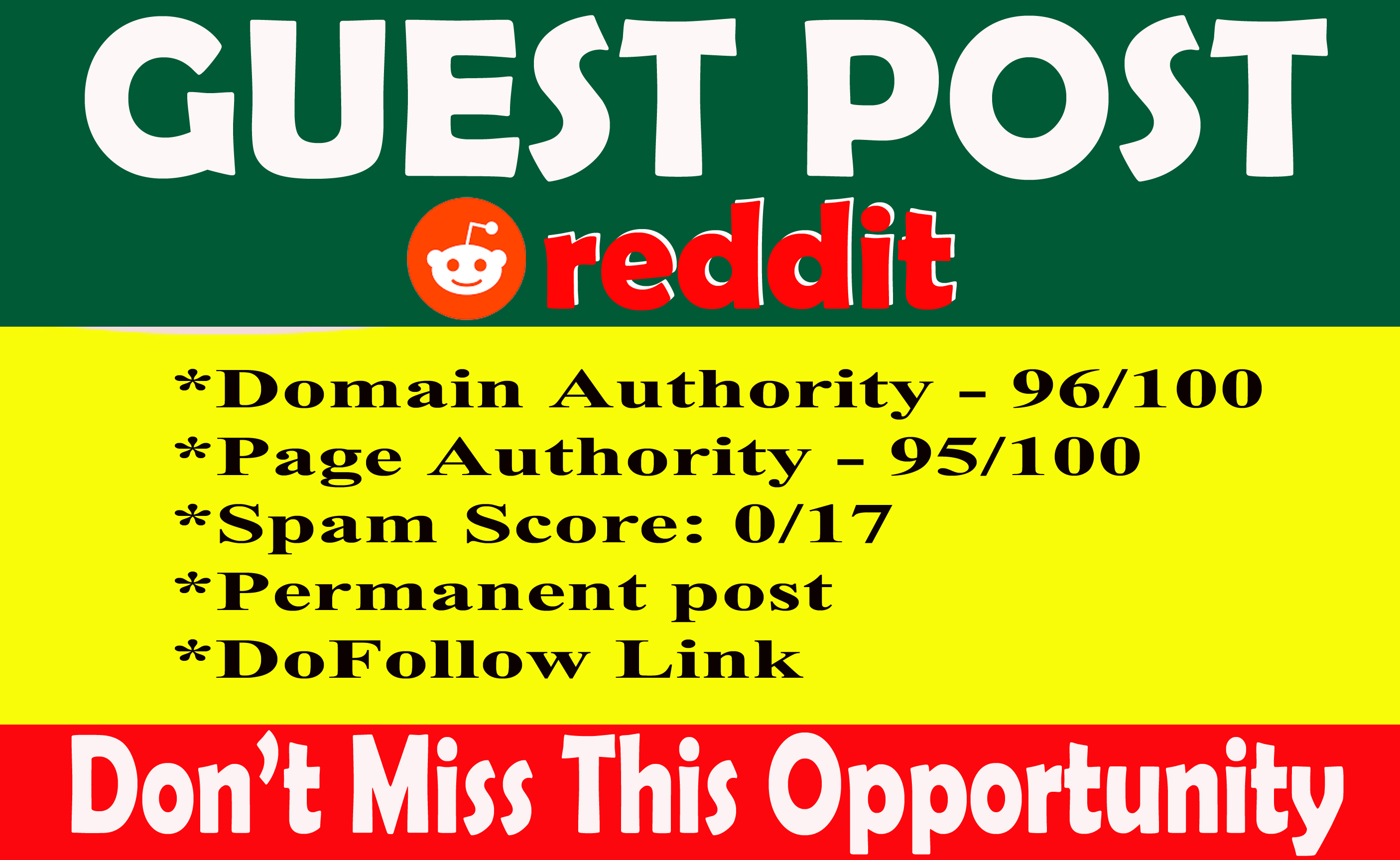 Guest post on REDDIT with permanent Dof0llow backlink DA99 PA96