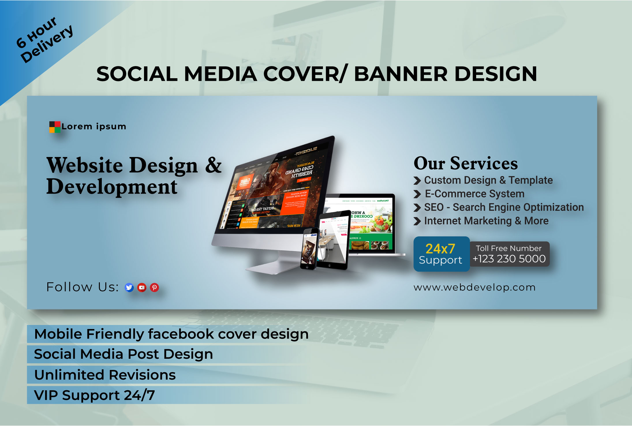 I will create social media banner facebook cover design within 24h