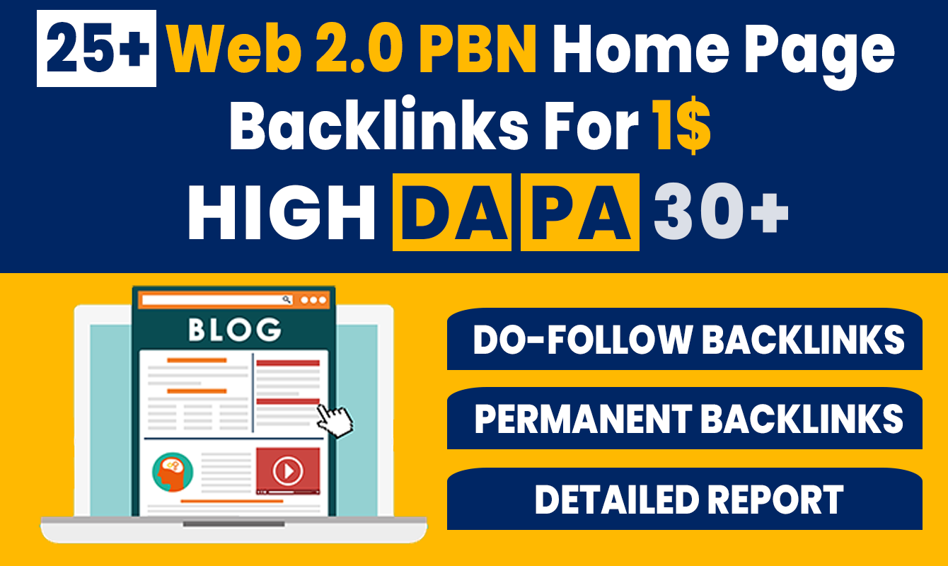 25+ High DA PA Permanent Web 2.0 PBN Home Page Back-links