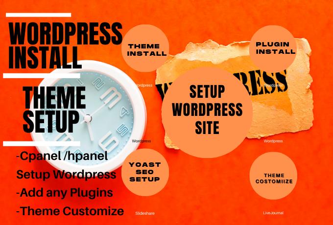 setup wordpress,  install theme,  do customize