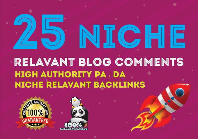 I will do 25 niche relevant blogcomment backlinks