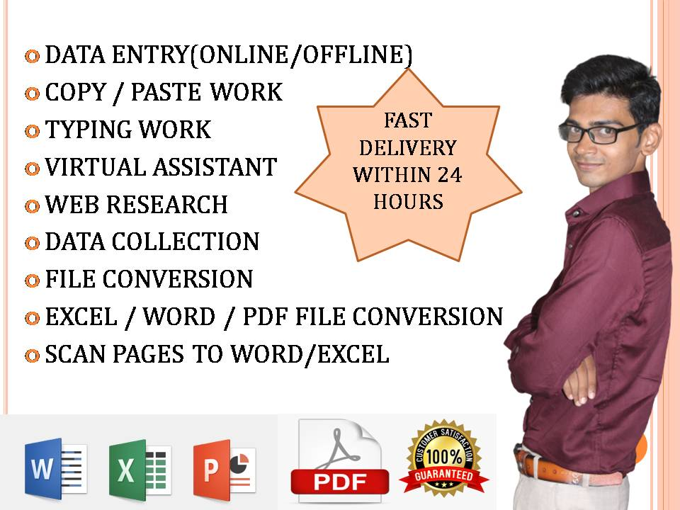 I will do any type of data entry,  internet research,  excel work etc.