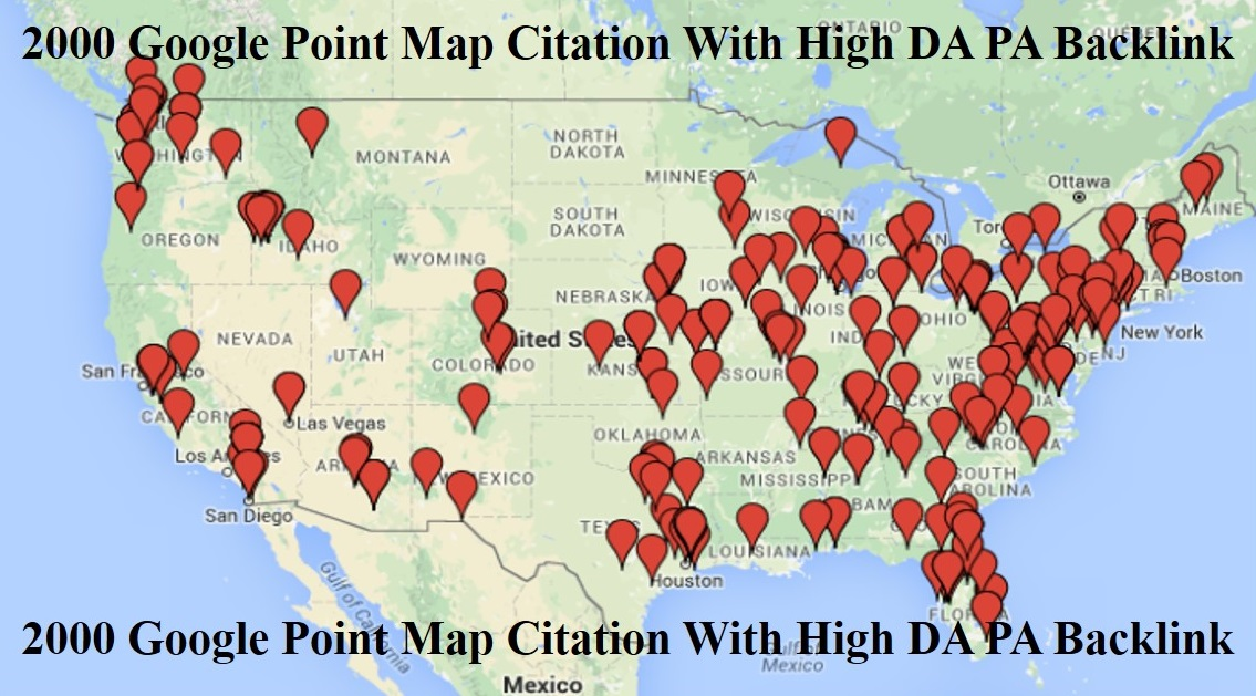 create 400 google point map citations to boost local seo business