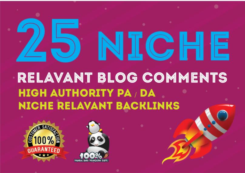 I will 25 Niche relavant blog comments high quality DA PA TF CF Dofollow